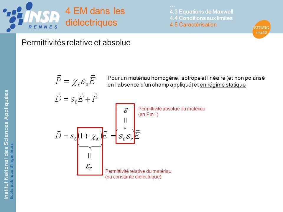 STPI/RG mai10 Permittivités relative et absolue Pour un matériau homogène, isotrope et linéaire (et non polarisé en labsence dun champ appliqué) et en régime statique = r Permittivité relative du matériau (ou constante diélectrique) = Permittivité absolue du matériau (en F.m -1 ) 4 EM dans les diélectriques … 4.3 Equations de Maxwell 4.4 Conditions aux limites 4.5 Caractérisation