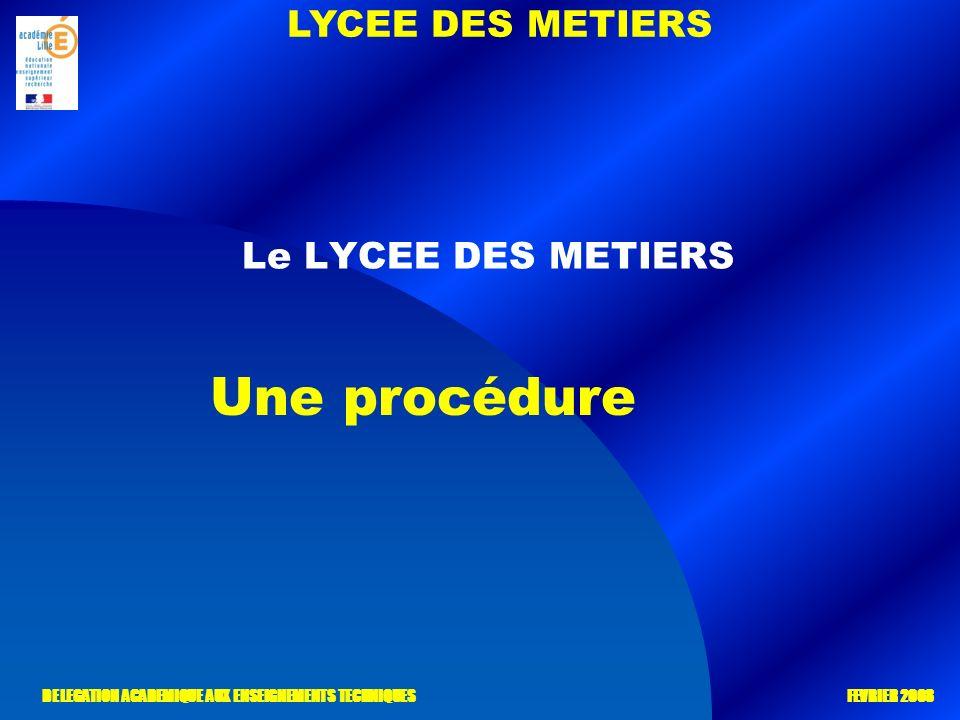 LYCEE DES METIERS DELEGATION ACADEMIQUE AUX ENSEIGNEMENTS TECHNIQUES FEVRIER 2008 Le LYCEE DES METIERS Une procédure