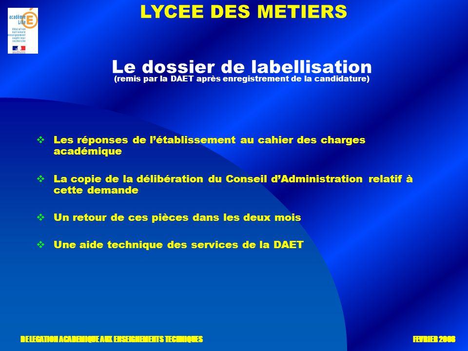 LYCEE DES METIERS DELEGATION ACADEMIQUE AUX ENSEIGNEMENTS TECHNIQUES FEVRIER 2008 Le dossier de labellisation (remis par la DAET après enregistrement