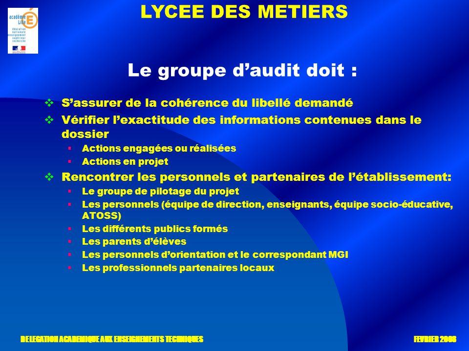 LYCEE DES METIERS DELEGATION ACADEMIQUE AUX ENSEIGNEMENTS TECHNIQUES FEVRIER 2008 Le groupe daudit doit : Sassurer de la cohérence du libellé demandé
