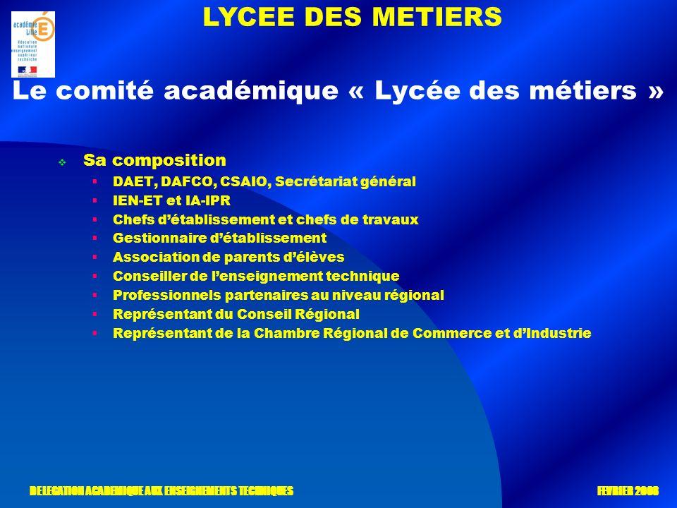 LYCEE DES METIERS DELEGATION ACADEMIQUE AUX ENSEIGNEMENTS TECHNIQUES FEVRIER 2008 Le comité académique « Lycée des métiers » Sa composition DAET, DAFC