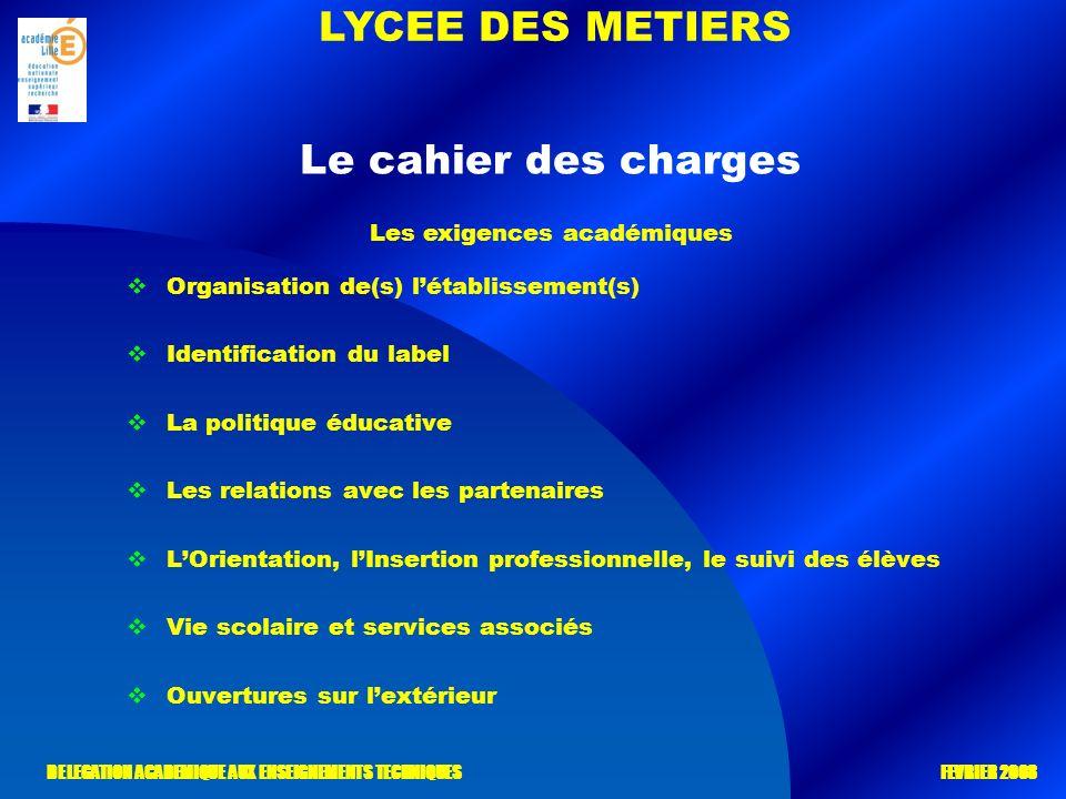 LYCEE DES METIERS DELEGATION ACADEMIQUE AUX ENSEIGNEMENTS TECHNIQUES FEVRIER 2008 Le cahier des charges Organisation de(s) létablissement(s) Identific