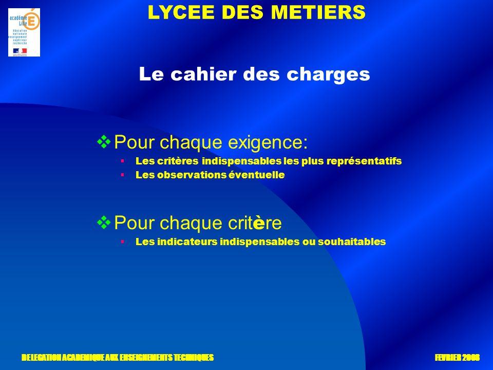 LYCEE DES METIERS DELEGATION ACADEMIQUE AUX ENSEIGNEMENTS TECHNIQUES FEVRIER 2008 Pour chaque exigence: Les critères indispensables les plus représent