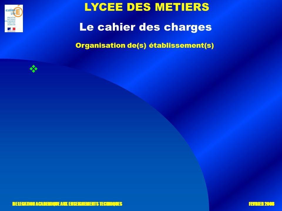 LYCEE DES METIERS DELEGATION ACADEMIQUE AUX ENSEIGNEMENTS TECHNIQUES FEVRIER 2008 Le cahier des charges Organisation de(s) établissement(s)