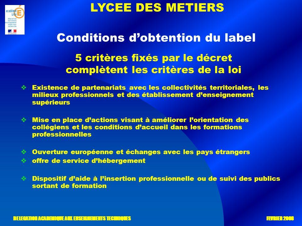 LYCEE DES METIERS DELEGATION ACADEMIQUE AUX ENSEIGNEMENTS TECHNIQUES FEVRIER 2008 Conditions dobtention du label Existence de partenariats avec les co