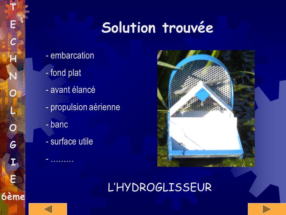 T E C H N O L O G I E 6ème Solution trouvée - embarcation - fond plat - avant élancé - propulsion aérienne - banc - surface utile - ……… LHYDROGLISSEUR
