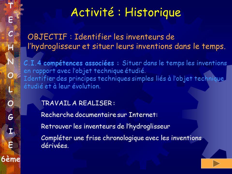T E C H N O L O G I E 6ème Activité : Historique OBJECTIF : Identifier les inventeurs de lhydroglisseur et situer leurs inventions dans le temps. C.I.