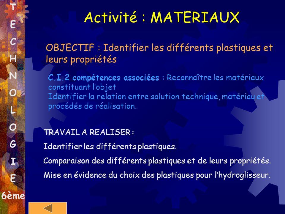 T E C H N O L O G I E 6ème Activité : MATERIAUX OBJECTIF : Identifier les différents plastiques et leurs propriétés C.I.2 compétences associées : Reco