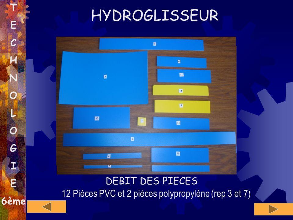 T E C H N O L O G I E 6ème 12 Pièces PVC et 2 pièces polypropylène (rep 3 et 7) HYDROGLISSEUR 3 7 DEBIT DES PIECES