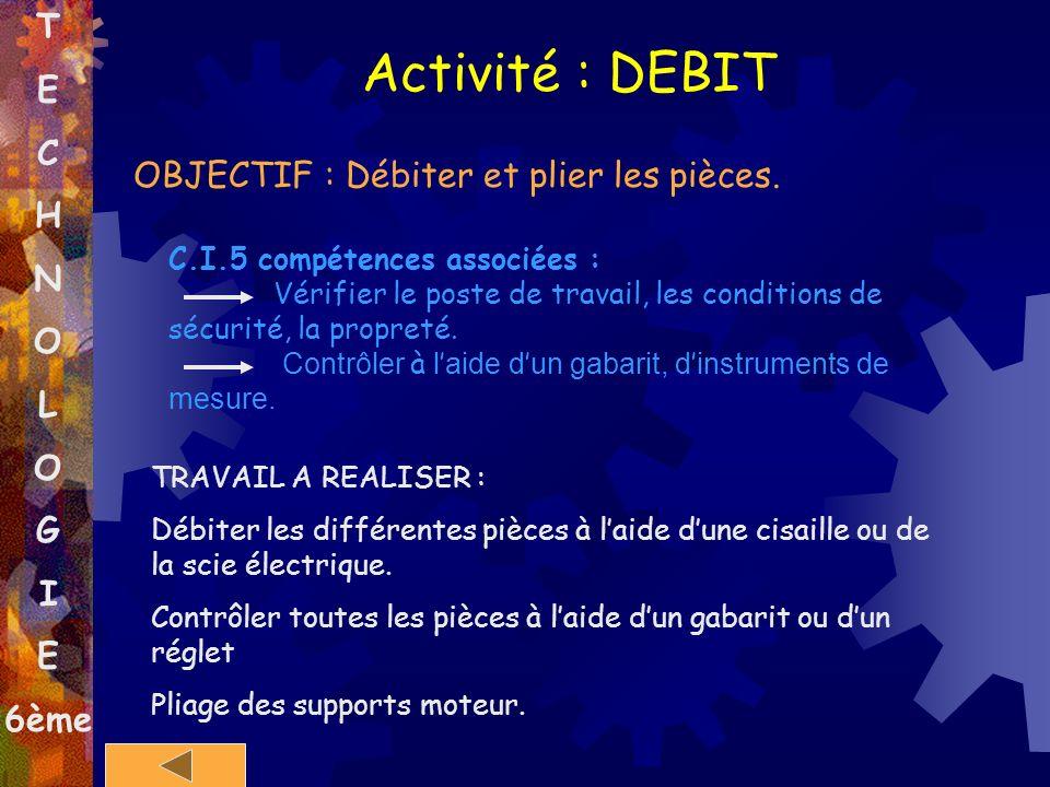 T E C H N O L O G I E 6ème Activité : DEBIT OBJECTIF : Débiter et plier les pièces. C.I.5 compétences associées : Vérifier le poste de travail, les co