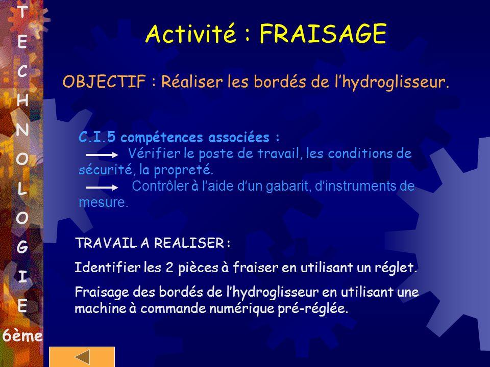 T E C H N O L O G I E 6ème Activité : FRAISAGE OBJECTIF : Réaliser les bordés de lhydroglisseur. C.I.5 compétences associées : Vérifier le poste de tr