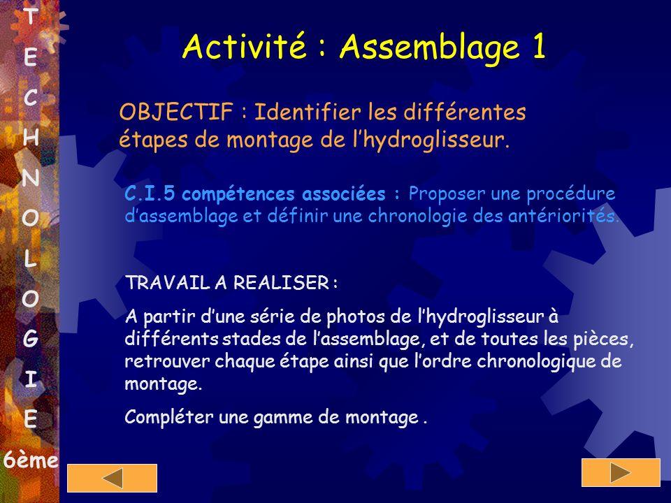 T E C H N O L O G I E 6ème Activité : Assemblage 1 OBJECTIF : Identifier les différentes étapes de montage de lhydroglisseur. C.I.5 compétences associ