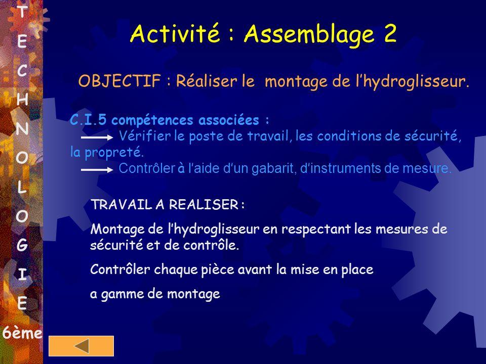 T E C H N O L O G I E 6ème Activité : Assemblage 2 OBJECTIF : Réaliser le montage de lhydroglisseur. C.I.5 compétences associées : Vérifier le poste d