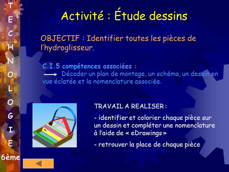 T E C H N O L O G I E 6ème OBJECTIF : Identifier toutes les pièces de lhydroglisseur. C.I.5 compétences associées : Décoder un plan de montage, un sch