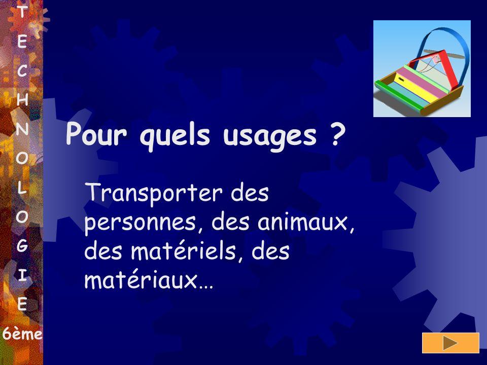 T E C H N O L O G I E 6ème Transporter des personnes, des animaux, des matériels, des matériaux… Pour quels usages ?