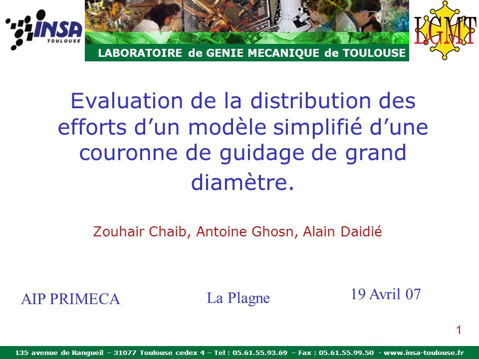 135 avenue de Rangueil – 31077 Toulouse cedex 4 – Tel : 05.61.55.93.69 – Fax : 05.61.55.99.50 - www.insa-toulouse.fr LABORATOIRE de GENIE MECANIQUE de TOULOUSE Modèle LGMT Principe et mise en oeuvre Rouleaux cylindriques (m = 10/9) Billes (m = 3/2) Hernot (LGMT)INASKF Loi de comportement du ressort Valeurs expérimentales Charge axiale Mesure du déplacement axial δ a 12