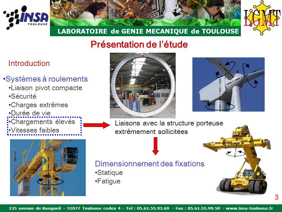 135 avenue de Rangueil – 31077 Toulouse cedex 4 – Tel : 05.61.55.93.69 – Fax : 05.61.55.99.50 - www.insa-toulouse.fr LABORATOIRE de GENIE MECANIQUE de TOULOUSE Présentation de létude Pourquoi une étude globale.