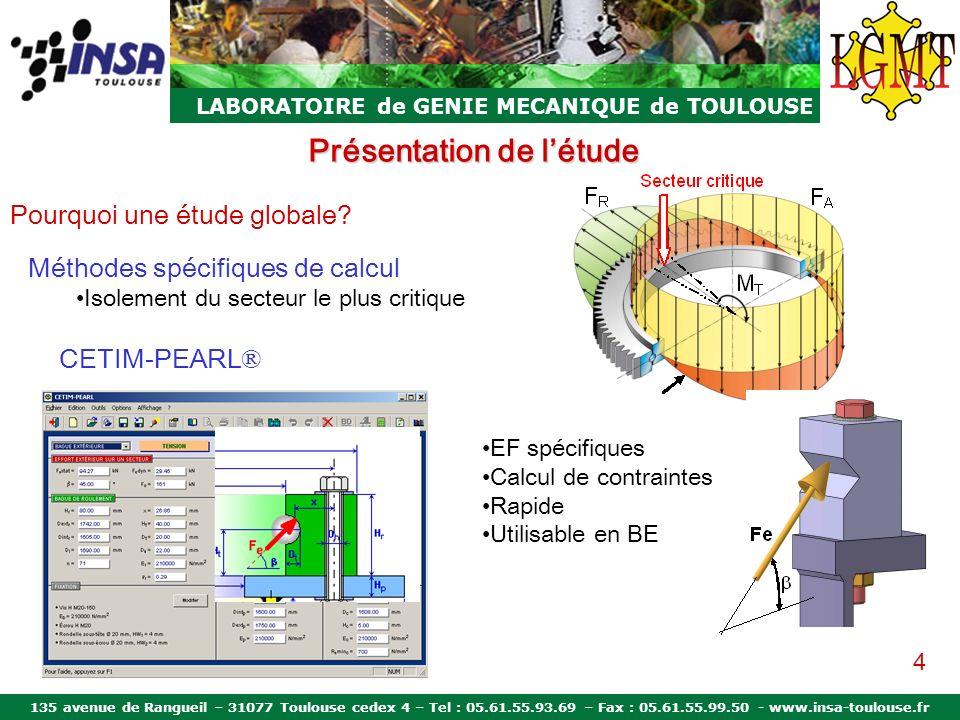 135 avenue de Rangueil – 31077 Toulouse cedex 4 – Tel : 05.61.55.93.69 – Fax : 05.61.55.99.50 - www.insa-toulouse.fr LABORATOIRE de GENIE MECANIQUE de TOULOUSE Modèle LGMT Résultats: couronne à billes Laulagun Moment pur (M T =80kN.m) Raideur des bagues Phénomène dovalisation Symétrie parfaite des courbes Variation maximale de langle de contact: 10 º 15