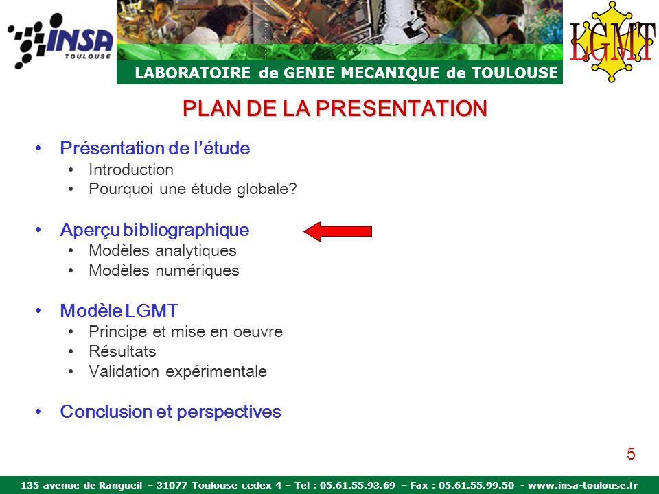 135 avenue de Rangueil – 31077 Toulouse cedex 4 – Tel : 05.61.55.93.69 – Fax : 05.61.55.99.50 - www.insa-toulouse.fr LABORATOIRE de GENIE MECANIQUE de TOULOUSE Aperçu bibliographique Modèles analytiques Supports rigides Bagues rigides Méthodes itératives Données géométriques Contact de Hertz Equations déquilibre Zupan Amasorain 6