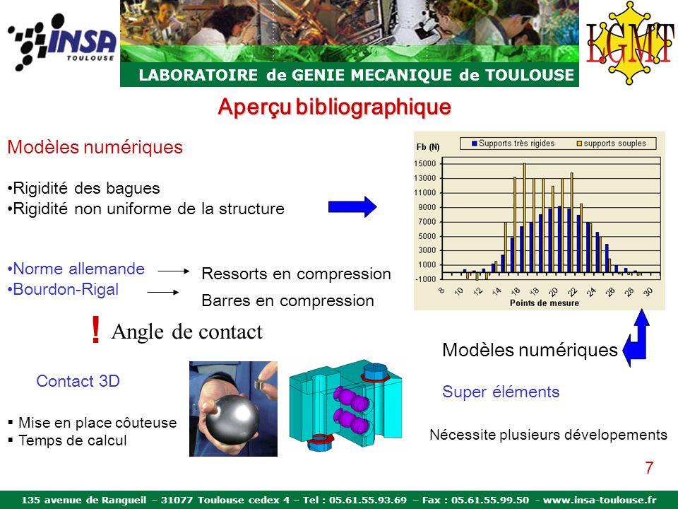 135 avenue de Rangueil – 31077 Toulouse cedex 4 – Tel : 05.61.55.93.69 – Fax : 05.61.55.99.50 - www.insa-toulouse.fr LABORATOIRE de GENIE MECANIQUE de TOULOUSE Aperçu bibliographique Conclusion Modèles analytiques non représentatifs de beaucoup de cas industriels Modèles numériques ne prennent pas en compte tous les paramètres Critères du modèle convenable Déformation des bagues Rigidité de la structure porteuse Variation de langle de contact 8