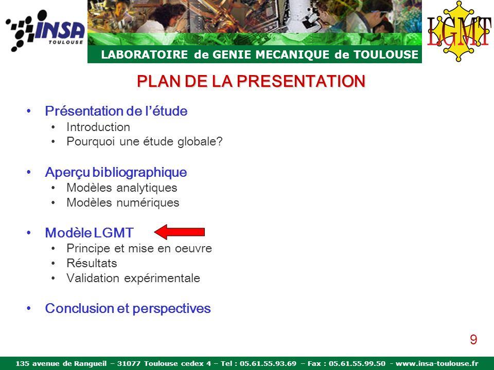 135 avenue de Rangueil – 31077 Toulouse cedex 4 – Tel : 05.61.55.93.69 – Fax : 05.61.55.99.50 - www.insa-toulouse.fr LABORATOIRE de GENIE MECANIQUE de TOULOUSE PLAN DE LA PRESENTATION Présentation de létude Introduction Objectifs Aperçu bibliographique Modèles analytiques Modèles numériques Modèle LGMT Principe et mise en oeuvre Résultats Validation expérimentale Conclusion et perspectives 20
