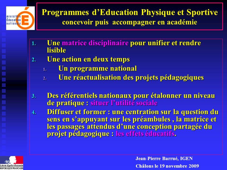 Programmes et certification en Education Physique et Sportive : de la matrice disciplinaire à la mise en œuvre Pourquoi donc une matrice disciplinaire