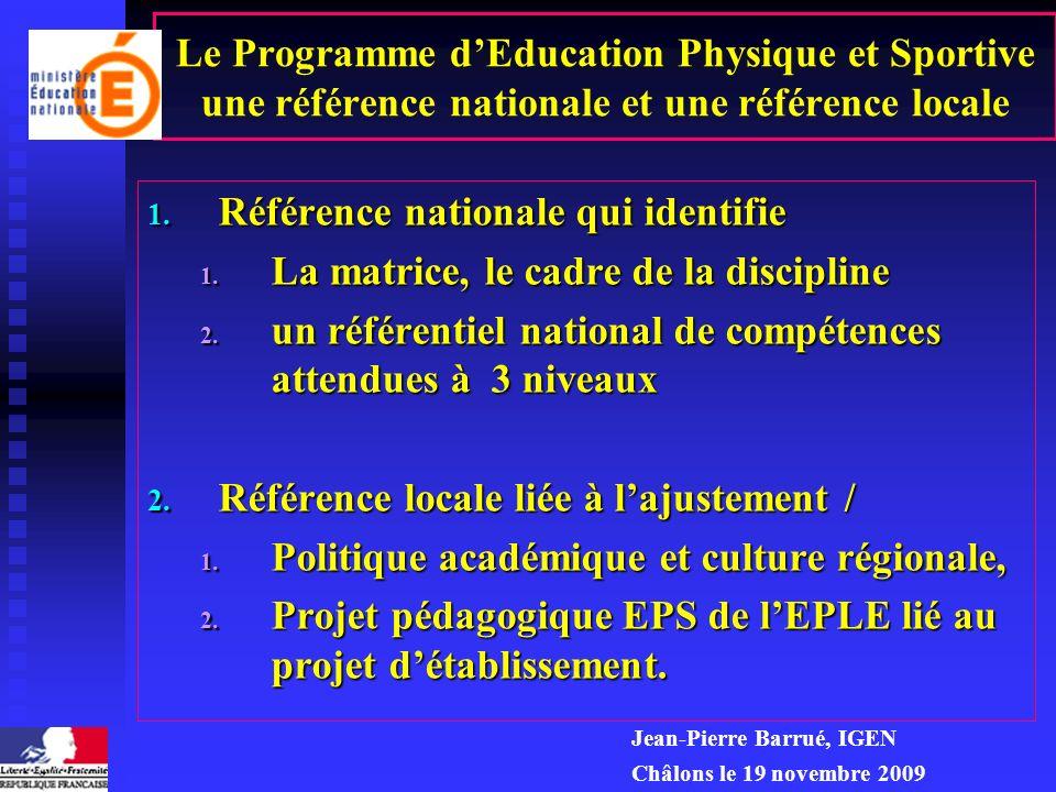 Le Programme dEducation Physique et Sportive une référence nationale et une référence locale 1.