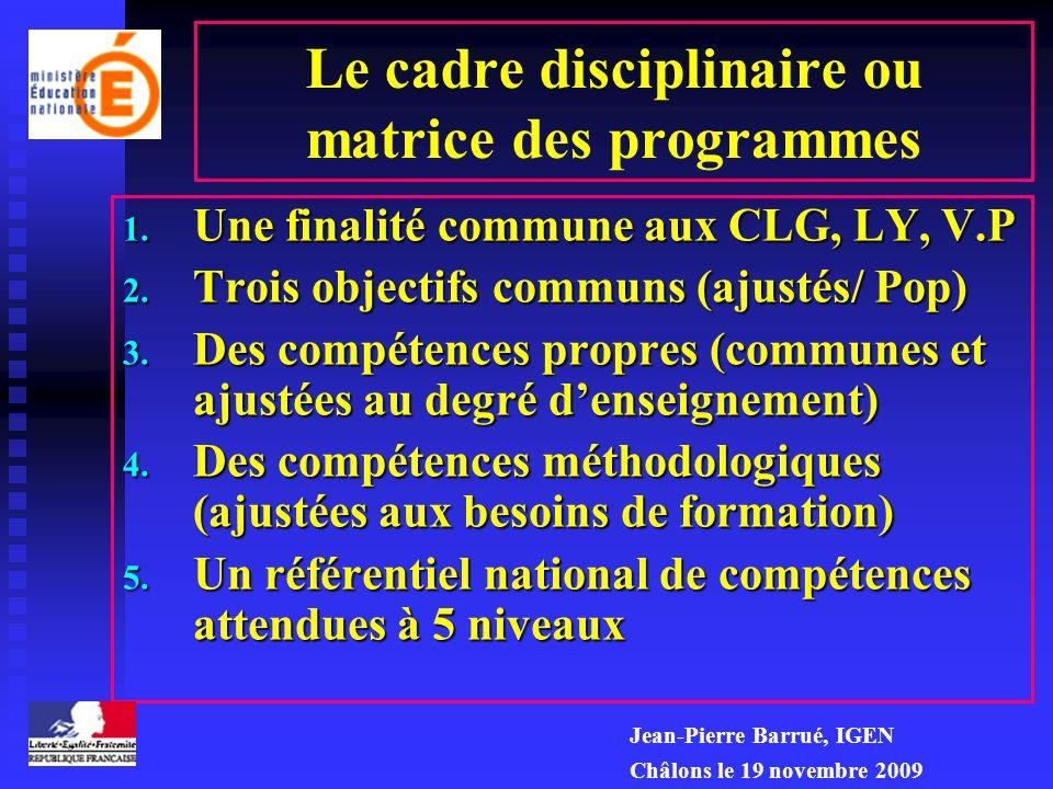 Principes décriture 1.Une conception unique dun cadre disciplinaire : la matrice 2.