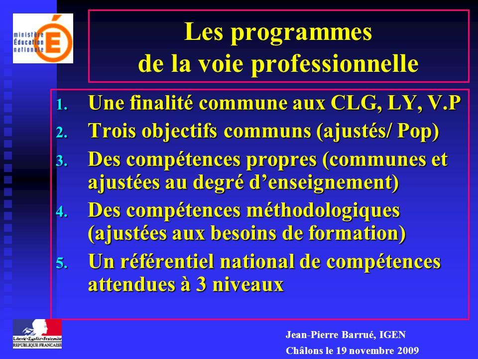 Le cadre disciplinaire ou matrice des programmes 1. Une finalité commune aux CLG, LY, V.P 2. Trois objectifs communs (ajustés/ Pop) 3. Des compétences