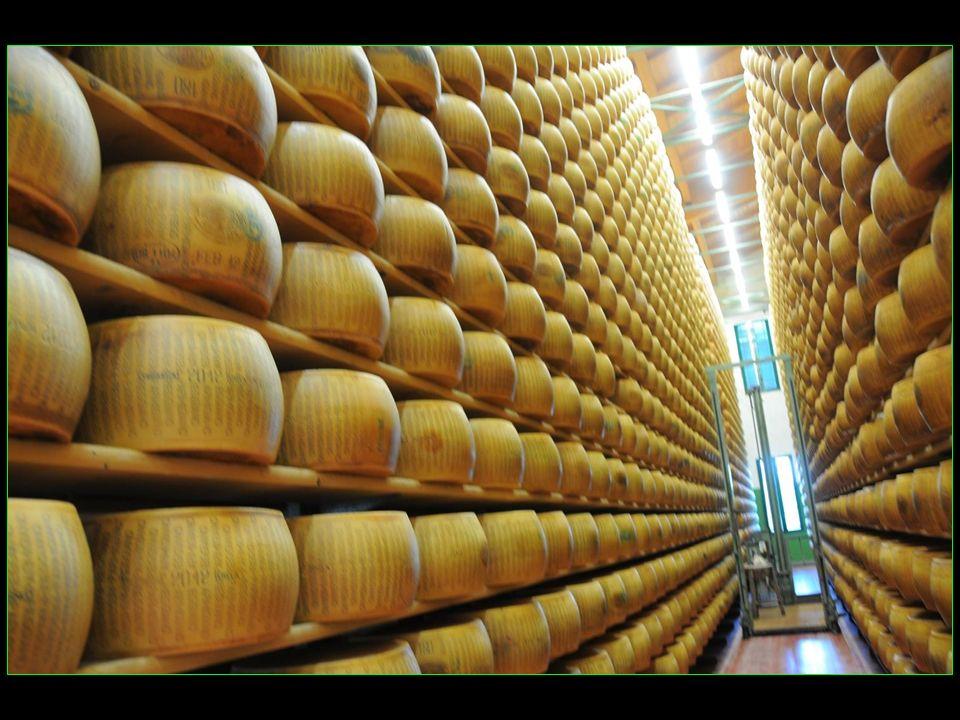 Le parmigiano reggiano, francisé en parmesan, est un fromage italien traditionnel de lait de vache reggiana, à pâte pressée cuite, produit dans une zo
