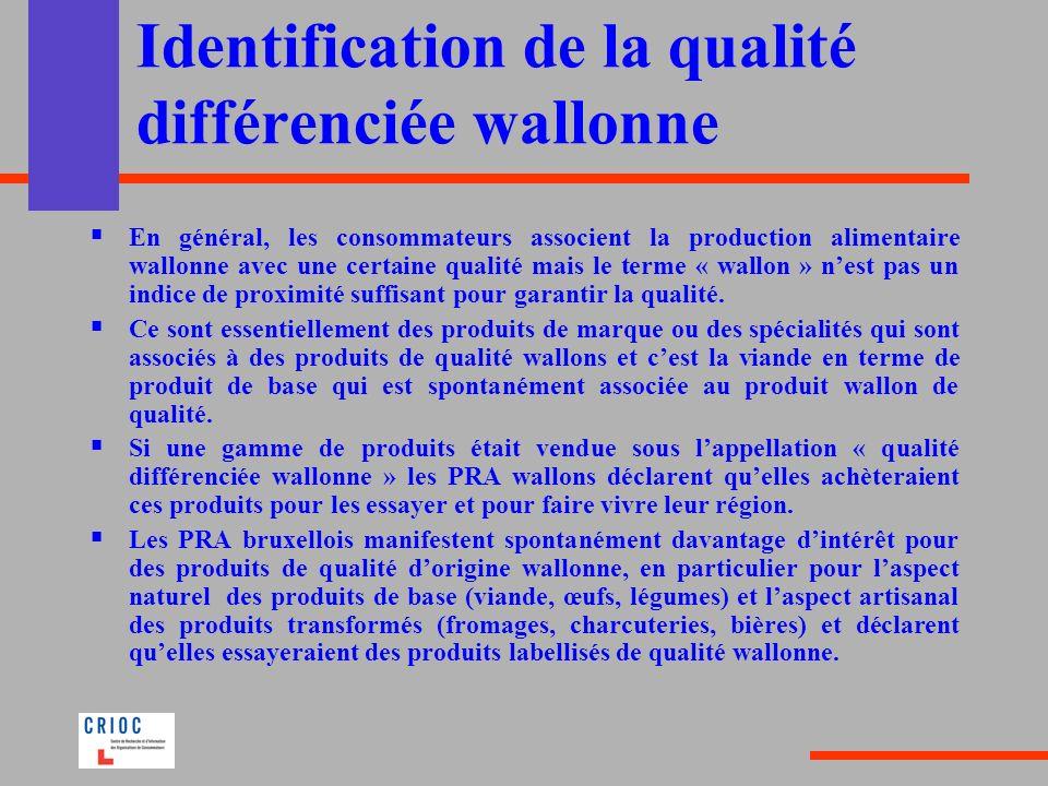 Identification de la qualité différenciée wallonne En général, les consommateurs associent la production alimentaire wallonne avec une certaine qualit
