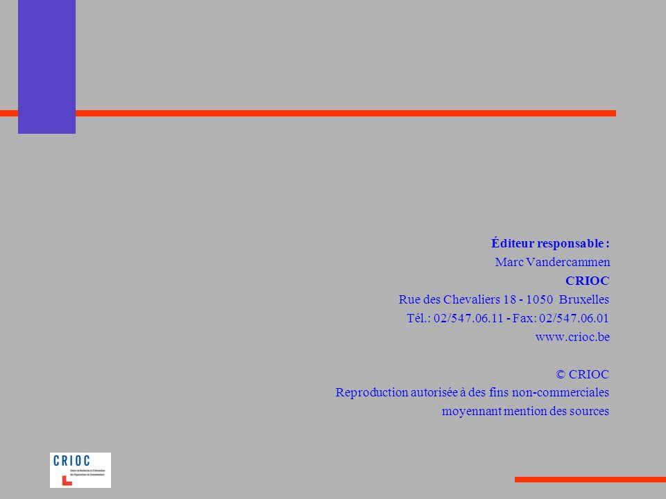 Éditeur responsable : Marc Vandercammen CRIOC Rue des Chevaliers 18 - 1050 Bruxelles Tél.: 02/547.06.11 - Fax: 02/547.06.01 www.crioc.be © CRIOC Repro