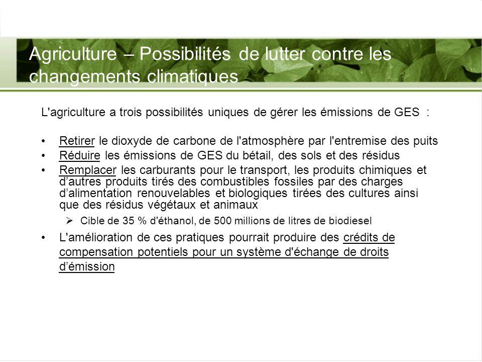 Agriculture – Possibilités de lutter contre les changements climatiques L'agriculture a trois possibilités uniques de gérer les émissions de GES : Ret