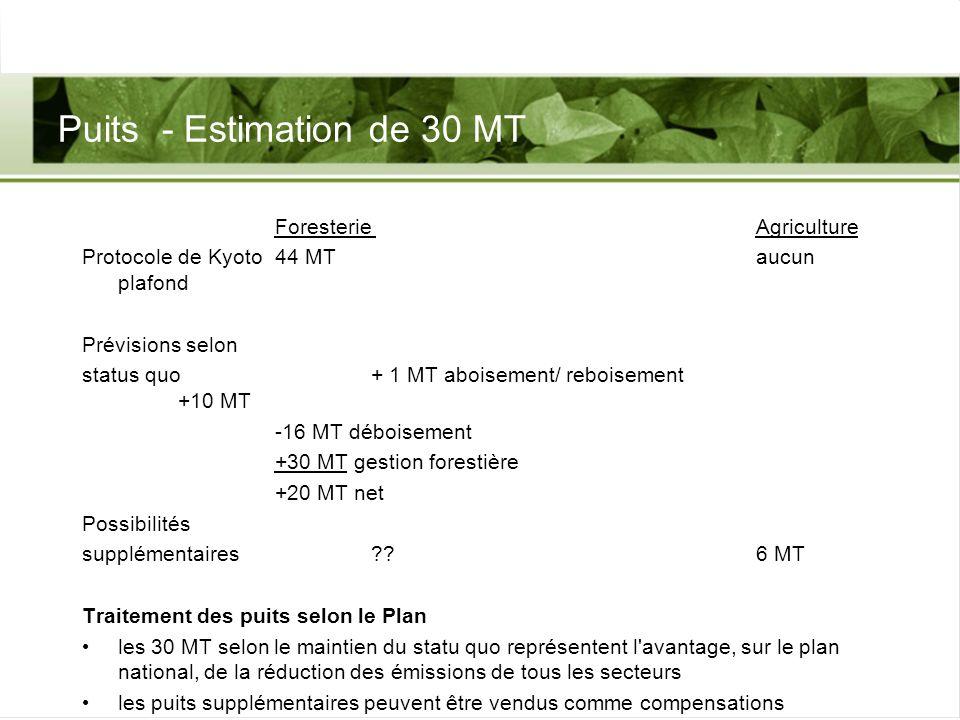 Puits - Estimation de 30 MT Foresterie Agriculture Protocole de Kyoto 44 MTaucun plafond Prévisions selon status quo + 1 MT aboisement/ reboisement +1