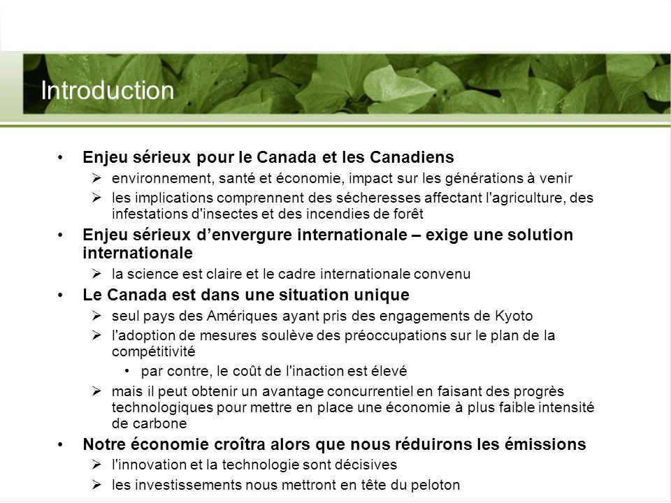 Introduction Enjeu sérieux pour le Canada et les Canadiens environnement, santé et économie, impact sur les générations à venir les implications compr