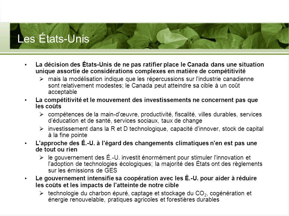 Défi de Kyoto du Canada Cible de Kyoto du Canada 6 % en deçà des niveaux de 1990, de 2008 à 2012; l « écart » des émissions est d environ 240 MT risques en amont et en aval, mais le secteur de l énergie est un important moteur qui, selon nos hypothèses, connaîtra une forte croissance Le Canada a joué un rôle important dans la formulation du Protocole de Kyoto dans une grande mesure, les mécanismes de Kyoto et les dispositions sur les puits ont été « faits par le Canada » L approche du Canada met en équilibre la gestion des défis et la poursuite des possibilités une forte présence canadienne sur les nouveaux marchés une économie qui utilise des technologies de pointe air pur, eau propre, villes durables, population en santé doivent être réelles, mesurables et aller au-delà du statu quo La question de la reconnaissance des avantages des exportations dénergie propre à l échelle mondiale demeure en suspens