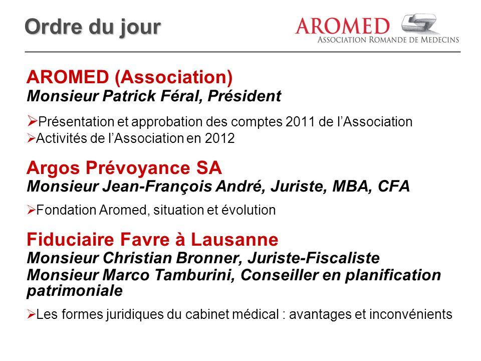Ordre du jour Ordre du jour AROMED (Association) Monsieur Patrick Féral, Président Présentation et approbation des comptes 2011 de lAssociation Activi