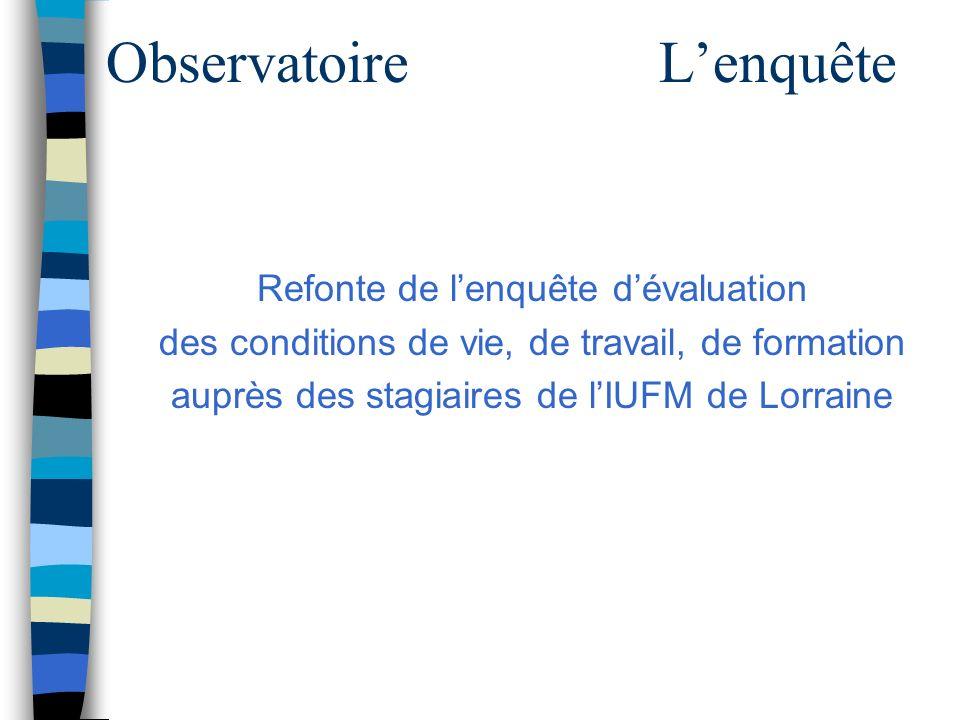 ObservatoireLenquête Refonte de lenquête dévaluation des conditions de vie, de travail, de formation auprès des stagiaires de lIUFM de Lorraine