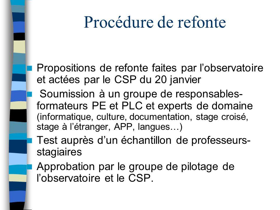 Procédure de refonte Propositions de refonte faites par lobservatoire et actées par le CSP du 20 janvier Soumission à un groupe de responsables- forma