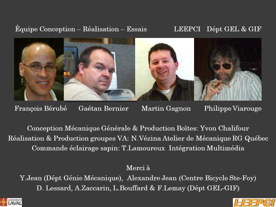 Équipe Conception – Réalisation – Essais LEEPCI Dépt GEL & GIF François Bérubé Gaétan Bernier Martin Gagnon Philippe Viarouge Conception Mécanique Gén