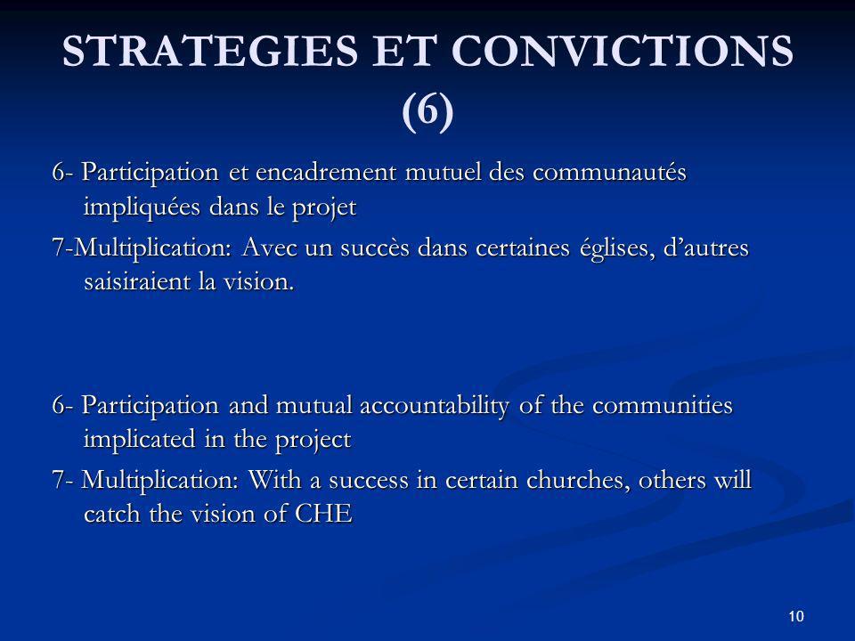 STRATEGIES ET CONVICTIONS (6) 6- Participation et encadrement mutuel des communautés impliquées dans le projet 7-Multiplication: Avec un succès dans certaines églises, dautres saisiraient la vision.