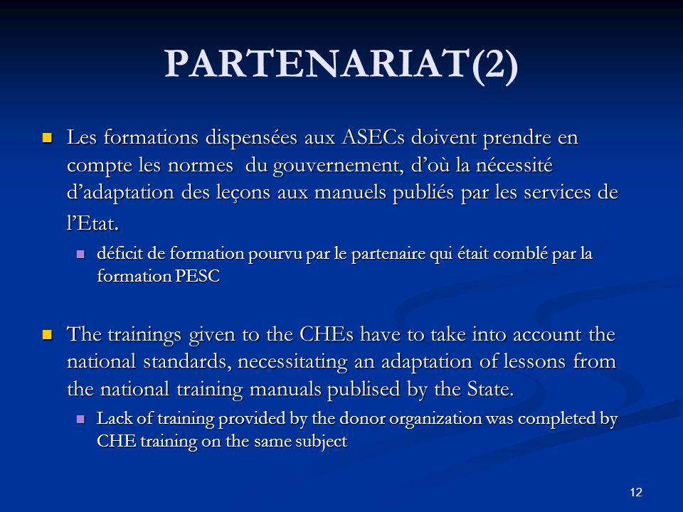 PARTENARIAT(2) Les formations dispensées aux ASECs doivent prendre en compte les normes du gouvernement, doù la nécessité dadaptation des leçons aux manuels publiés par les services de lEtat.