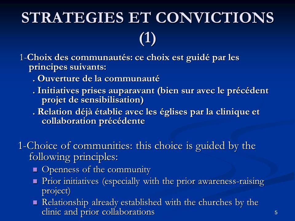 STRATEGIES ET CONVICTIONS (1) 1-Choix des communautés: ce choix est guidé par les principes suivants: 1-Choix des communautés: ce choix est guidé par les principes suivants:.