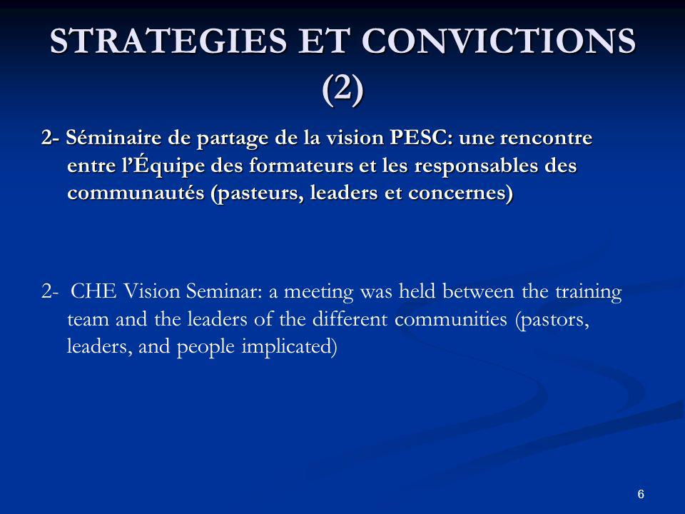 STRATEGIES ET CONVICTIONS (2) 2- Séminaire de partage de la vision PESC: une rencontre entre lÉquipe des formateurs et les responsables des communautés (pasteurs, leaders et concernes) 2- CHE Vision Seminar: a meeting was held between the training team and the leaders of the different communities (pastors, leaders, and people implicated) 6