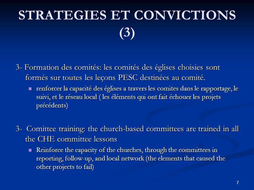 STRATEGIES ET CONVICTIONS (4) 4 - Formation des ASECs: cette formation prend en compte les leçons sur les rôles des asecs, les principes de pesc et les leçons sur le VIH/sida.