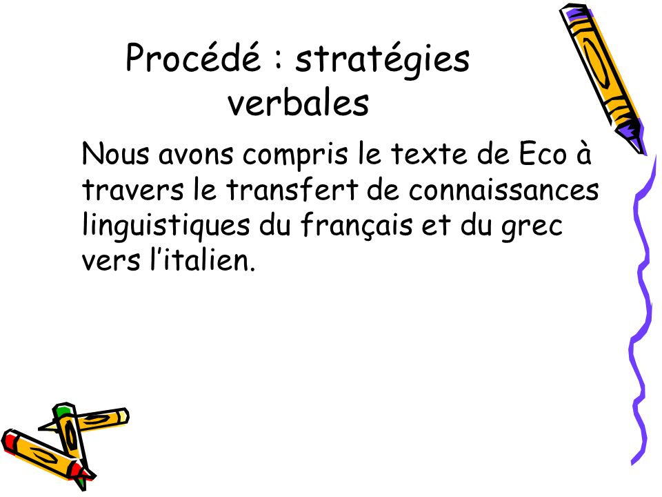 Procédé : stratégies verbales Nous avons compris le texte de Eco à travers le transfert de connaissances linguistiques du français et du grec vers litalien.