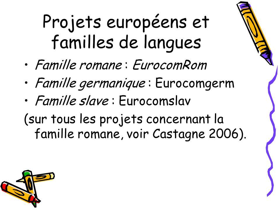 Projets européens et familles de langues Famille romane : EurocomRom Famille germanique : Eurocomgerm Famille slave : Eurocomslav (sur tous les projets concernant la famille romane, voir Castagne 2006).