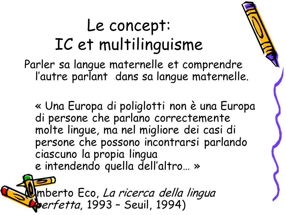Le concept: IC et multilinguisme Parler sa langue maternelle et comprendre lautre parlant dans sa langue maternelle.