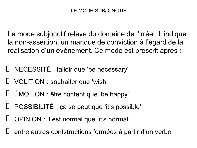Le mode subjonctif relève du domaine de lirréel. Il indique la non-assertion, un manque de conviction à légard de la réalisation dun événement. Ce mod