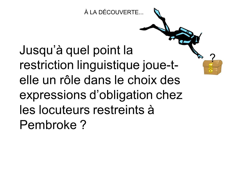 Jusquà quel point la restriction linguistique joue-t- elle un rôle dans le choix des expressions dobligation chez les locuteurs restreints à Pembroke